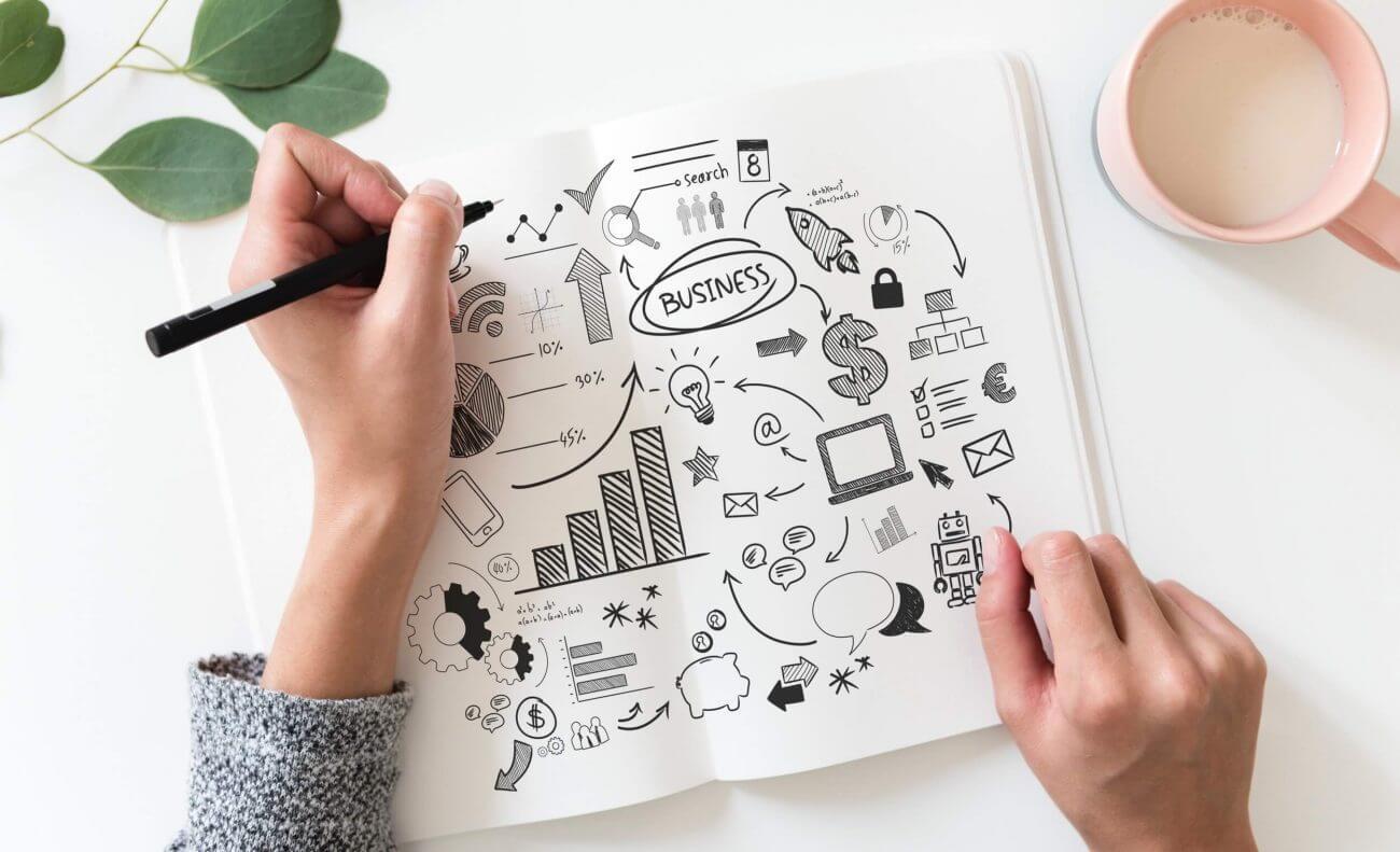 Linkshänder, brainstorming, business-plan-close-up